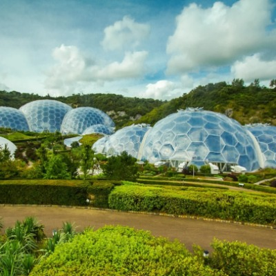 The Eden Project near St Austell, with the jungle and Mediterranean biomes